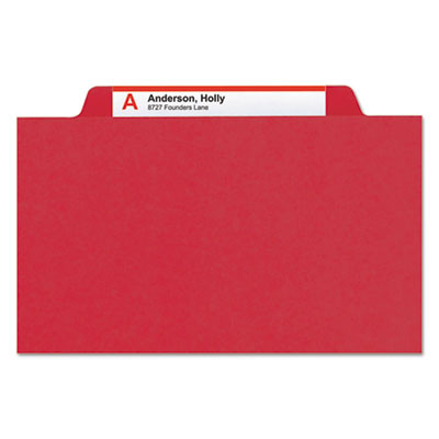 Pressboard Classification Folders, Legal, Four-Section, Bright Red, 10/Box