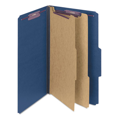 Pressboard Classification Folders, Legal, Six-Section, Dark Blue, 10/Box