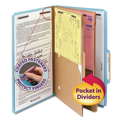 Pressboard Folders with Two Pocket Dividers, Legal, Six-Section, Blue, 10/Box<br />91-SMD-19081