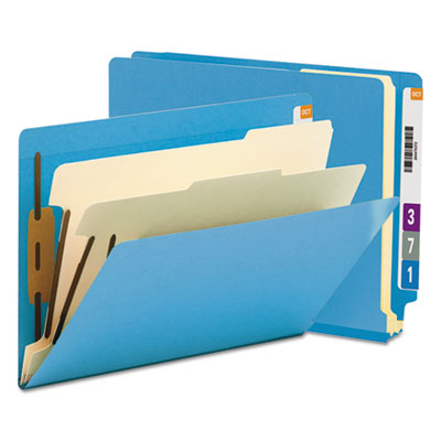 Colored End Tab Classification Folders, Letter, Six-Section, Blue, 10/Box<br />91-SMD-26836