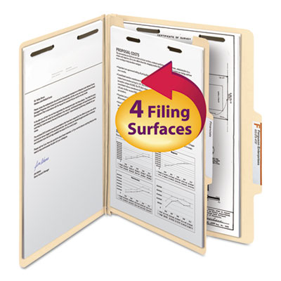 Manila Classification Folders with 2/5 Right Tab, Letter, Four-Section, 10/Box<br />91-SMD-13700
