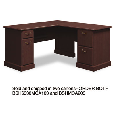 "60""W x 60""D L-Desk (B/D, F/F) Box 1 of 2 Syndicate, Mocha Cherry"