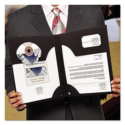 Smead Lockit Two-Pocket Folder Textured Paper 11 x 8 1//2 Black 25//Box 87981