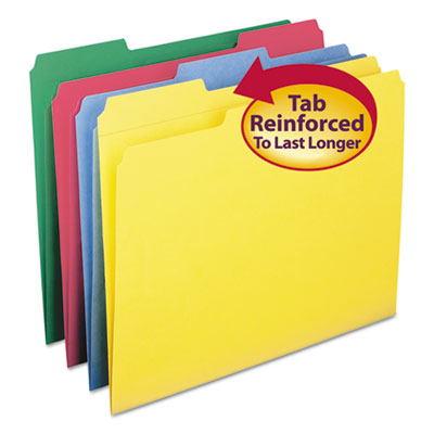 File Folders, 1/3 Cut, Reinforced Top Tabs, Letter, Assorted, 12/Pack<br />91-SMD-11641