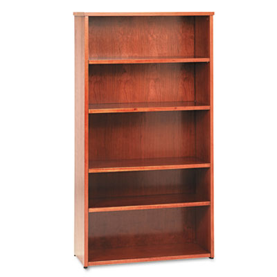 BW Wood Veneer Series Five-Shelf Bookcase, 36w x 13d x 66h, Bour