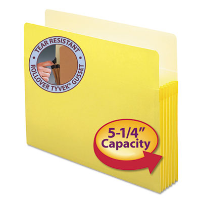"5 1/4"" Exp Colored File Pocket, Straight Tab, Letter, Yellow<br />91-SMD-73243"