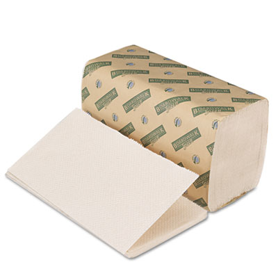 Boardwalk Green Single-Fold Towels, Natural White, 9x10, 250/Pac