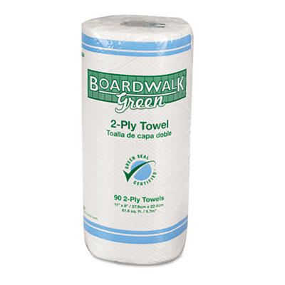 Boardwalk Green Household Roll Towels, 2-Ply, 11x9, 90 Sheets/Ro