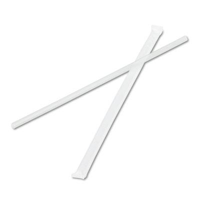 "Jumbo Straws, 7 3/4"", Plastic, Translucent, 500/Pack, 24 Packs/C"
