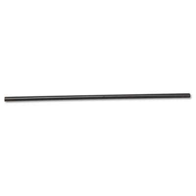"Unwrapped Jumbo Straws, 7 3/4"", Plastic, Black, 500/Pack, 24 Pac"