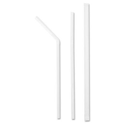 """Jumbo Straws, 7 5/8"""", Plastic, White Flex"""