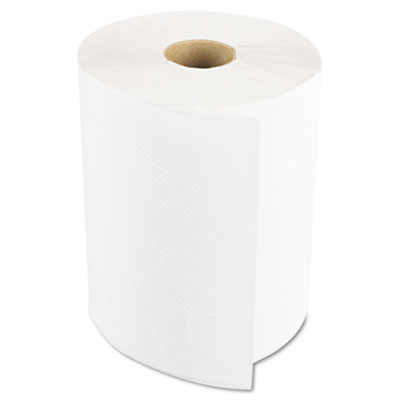 "Hardwound Paper Towels, 8"" x 800ft, 1-Ply Bleached White, 6 Roll"