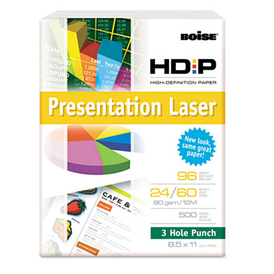 HD:P Presentation Laser Paper, 3-H, 96 Bright, 24lb, 8-1/2 x 11,