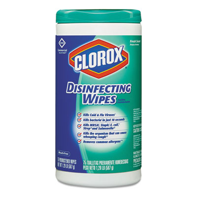 Disinfecting Wipes, 7 x 8, Fresh Scent, 75/Canister<br />91-CLO-15949EA