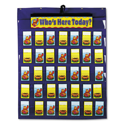 Attendance/Multiuse Pocket Chart, 35 Pockets/Two-Sided Cards, Bl