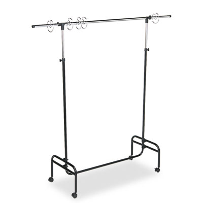 "Adjustable Mobile Chart Stand, 48"" to 75"" High, Steel, Black"
