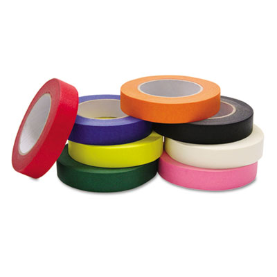 "Colored Masking Tape Classroom Pack, 1"" x 60yds, Assorted, 8/Pac"