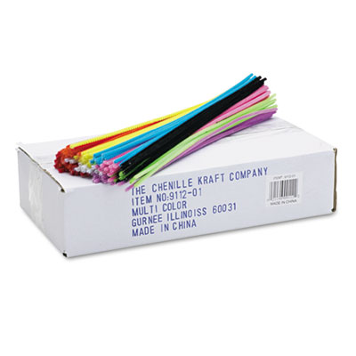 """Regular Stems, 12"""" x 4mm, Metal Wire, Polyester, Assorted, 1000/Box<br />91-CKC-911201"""