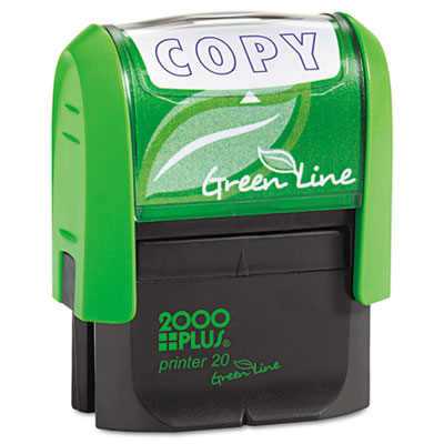 2000 PLUS Green Line Message Stamp, Copy, 1 1/2 x 9/16, Blue