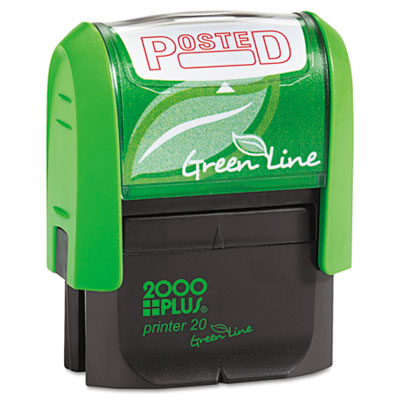 2000 PLUS Green Line Message Stamp, Posted, 1 1/2 x 9/16, Red