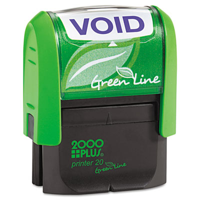 2000 PLUS Green Line Message Stamp, Void, 1 1/2 x 9/16, Blue