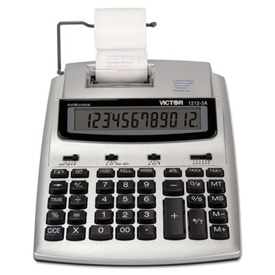 1212-3A Antimicrobial Printing Calculator, Blue/Red Print, 2.7 Lines/Sec<br />91-VCT-12123A