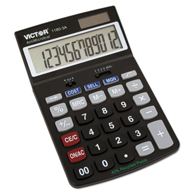 1180-3A Antimicrobial Desktop Calculator, 12-Digit LCD<br />91-VCT-11803A