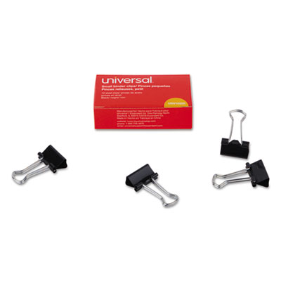 "Small Binder Clips, 3/8"" Capacity, 3/4"" Wide, Black, 12/Box<br />91-UNV-10200"