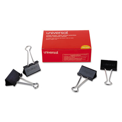 "Large Binder Clips, 1"" Capacity, 2"" Wide, Black, 12/Box<br />91-UNV-10220"