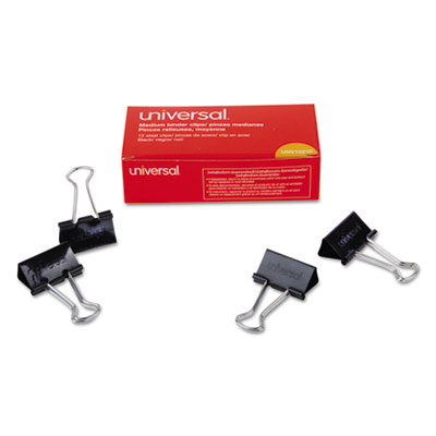"Medium Binder Clips, 5/8"" Capacity, 1 1/4"" Wide, Black, 12/Box<br />91-UNV-10210"