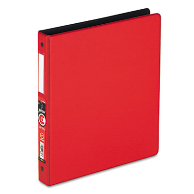 "Easy Open Locking Round Ring Binder, 1"", W/Label holder, Red"