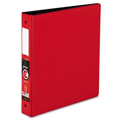 "Easy Open Locking Round Ring Binder, 1-1/2"", W/Label Holder, Red"