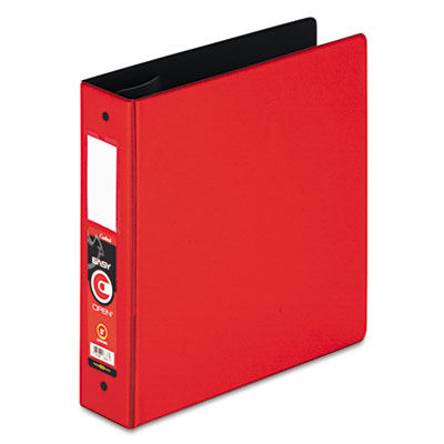 "Easy Open Locking Round Ring Binder, 2"", W/Label Holder, Red"