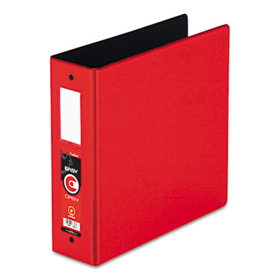 "Easy Open Locking Round Ring Binder, 3"", W/Label Holder, Red"