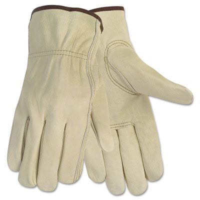 Economy Leather Driver Gloves, Medium, Cream, Pair
