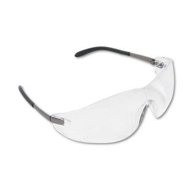 Blackjack Wraparound Safety Glasses, Chrome Plastic Frame, Clear