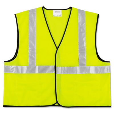 Class 2 Safety Vest, Fluorescent Lime w/Silver Stripe, Polyester