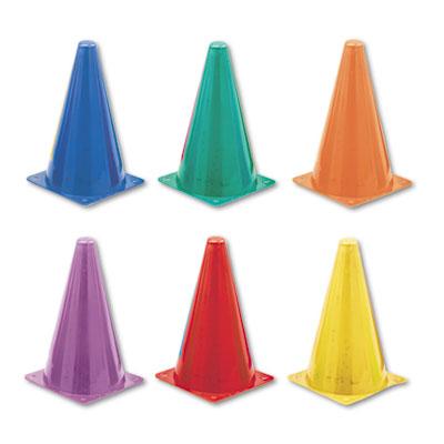 Indoor/Outdoor Flexible Cone Set, Vinyl, Assorted Colors, 6/Set