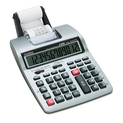 HR-100TM Two-Color Portable Printing Calculator, Black/Red Print, 2 Lines/Sec<br />91-CSO-HR100TM