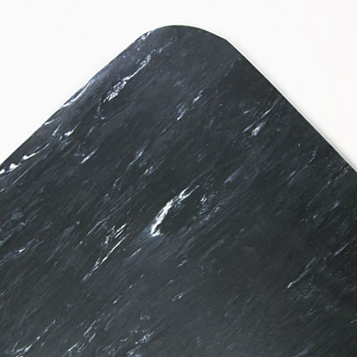 Cushion-Step Mat, Rubber, 36 x 60, Marbleized Black