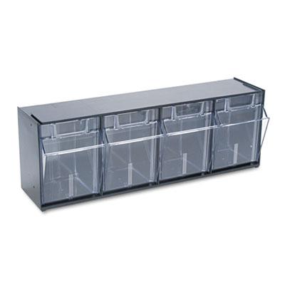 Tilt Bin Plastic Storage System w/4 Bins, 23 5/8 x 6 5/8 x 8 1/8