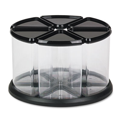6 Canister Carousel Organizer, Plastic, 11 1/8 x 11 1/8, Black/C