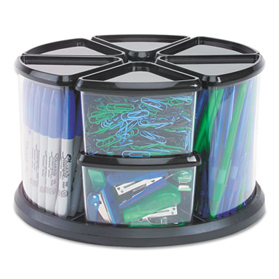9 Canister Carousel Organizer, Plastic, 11 1/8 x 11 1/8, Black/C