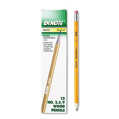 Oriole Woodcase Pencil, F #2.5, Yellow Barrel, 12/Pack