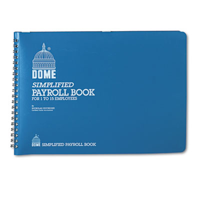Simplified Payroll Record, Light Blue Vinyl Cover, 7 1/2 x 10 1/