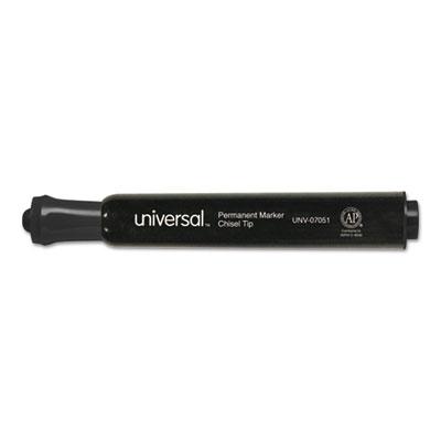 Permanent Markers, Chisel Tip, Black, Dozen<br />91-UNV-07051