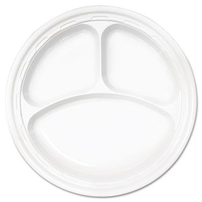 "Famous Service Plastic Dinnerware, Plate, 3-Comp, 10 1/4"" dia, W"