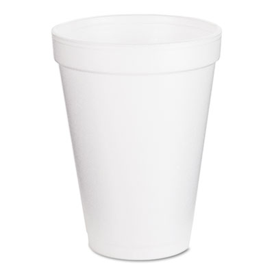 Drink Foam Cups, 12oz, White, 25/Bag, 40 Bags/Carton