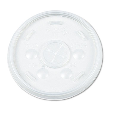 Plastic Lids, for 12oz Hot/Cold Foam Cups, Slip-Thru Lid, White,