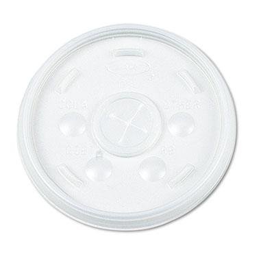 Plastic Lids, for 12oz Hot/Cold Foam Cups, Slip-Thru Lid, White,